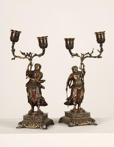 Pair of bronze candlesticks 19th century - Lighting Style