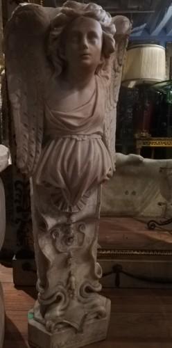 Sculpture  - Carrara marble corner caryatid, Italy 18th century