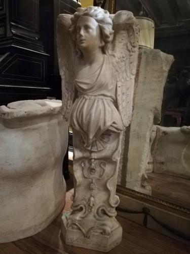 Carrara marble corner caryatid, Italy 18th century -