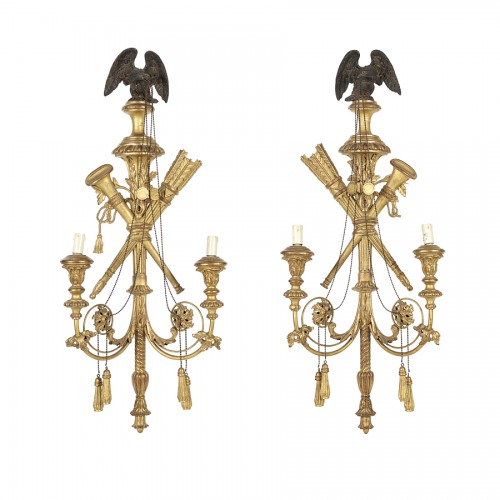 Pair of gilded wood wall lights 19th century