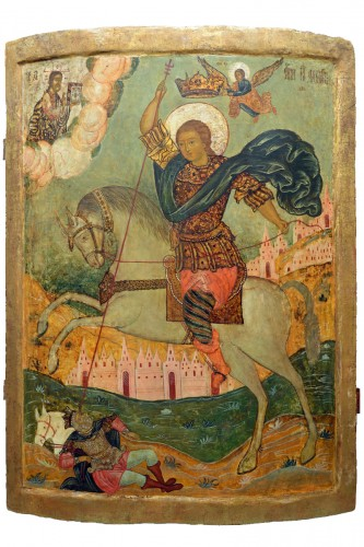 Icon - Saint Dimitrios of Thessaloniki, Tempera on wood panel with kowcheg