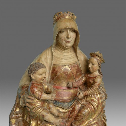 Saint Anne with Virgin and child, circa 1500-20 - Sculpture Style Middle age