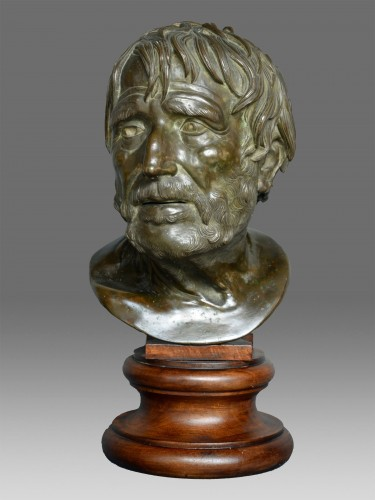 Bust in bronze of Seneca Naples 19th Century - Sculpture Style