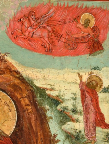 Fiery Icon Ascension of the Prophet Elias - Religious Antiques Style Empire
