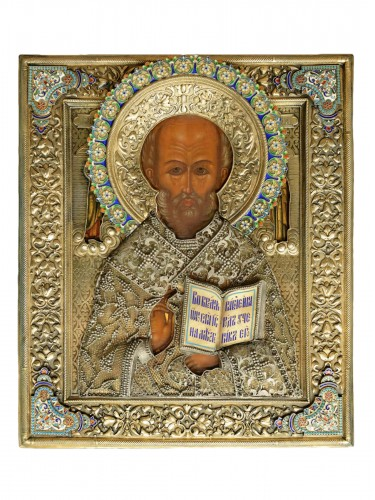 Icon of Saint Nicholas with a silver riza with cloisonné enamel