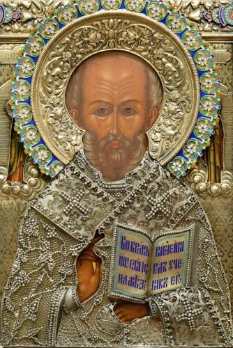 Icon of Saint Nicholas with a silver riza with cloisonné enamel - Religious Antiques Style Art nouveau