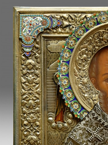 Religious Antiques  - Icon of Saint Nicholas with a silver riza with cloisonné enamel