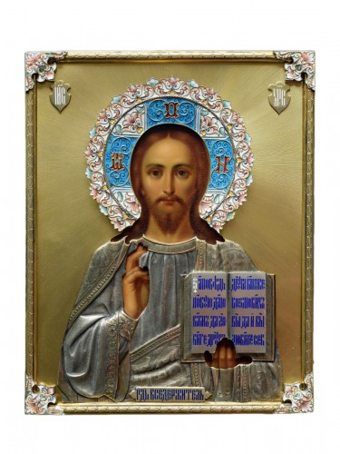 Christ icon with cloisonné enamel circa 1896 - 1908