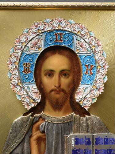 Christ icon with cloisonné enamel circa 1896 - 1908 - Religious Antiques Style Art nouveau