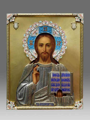 Christ icon with cloisonné enamel circa 1896 - 1908 - Art nouveau