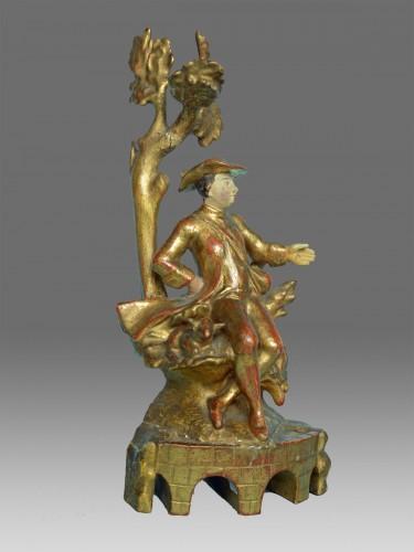 Sculpture  - Pair of polychrome wood sculptures eighteenth century