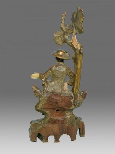 Louis XVI - Pair of polychrome wood sculptures eighteenth century