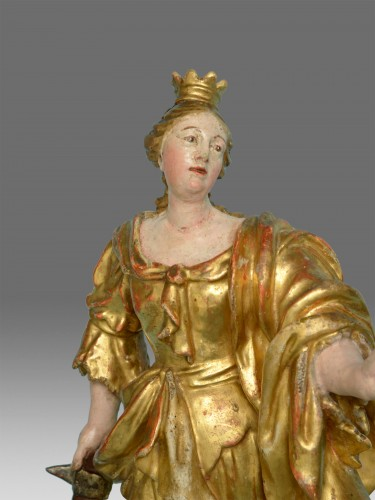 Saint Catherine about 1770 Christian Jorhan workshop - Sculpture Style Louis XVI
