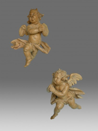 Pair of Angels worshiping Lorenz Luidl workshop - Sculpture Style Louis XIV