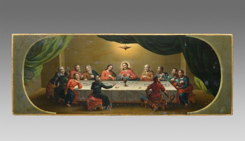 Icon of the Last Supper, Moscow 1853 with a gilded silver riza  - Religious Antiques Style Louis-Philippe