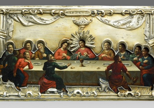 Religious Antiques  - Icon of the Last Supper, Moscow 1853 with a gilded silver riza