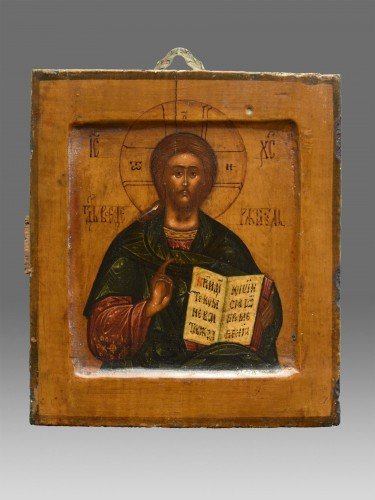 Icon Christ  Pantokrator with riza and cloisonne enamel Moscow 1670-1700 - Religious Antiques Style Louis XIV