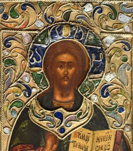 Religious Antiques  - Icon Christ  Pantokrator with riza and cloisonne enamel Moscow 1670-1700