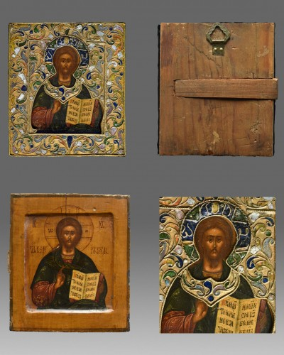 Icon Christ  Pantokrator with riza and cloisonne enamel Moscow 1670-1700 -