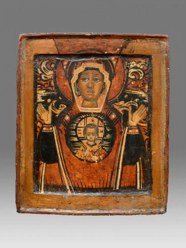 Religious Antiques  - Icône Vierge De Signe vers 1650-80