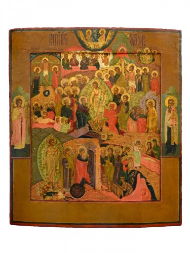 Icon Christ Hell Ride and Resurrection Russie Mstera about 1720