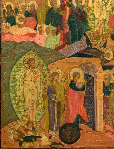 Icon Christ Hell Ride and Resurrection Russie Mstera about 1720 -