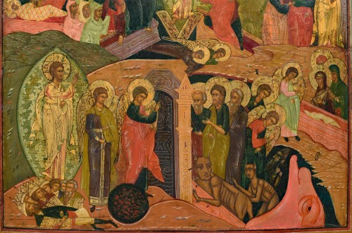 Icon Christ Hell Ride and Resurrection Russie Mstera about 1720 - Louis XIV