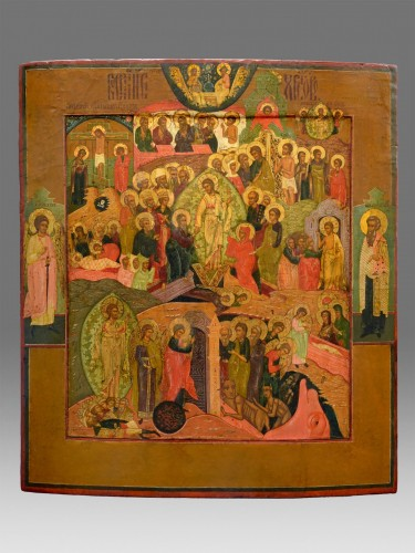 Antiquités - Icon Christ Hell Ride and Resurrection Russie Mstera about 1720