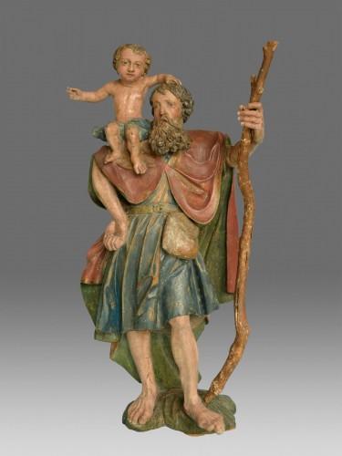<= 16th century - Sculpture of Saint Christophe Renaissance