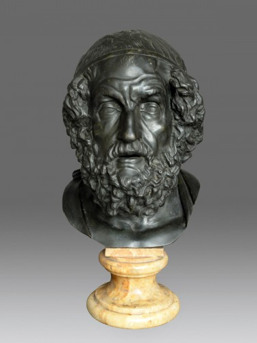 Monumental bust of the philosopher Homer - Sculpture Style Napoléon III