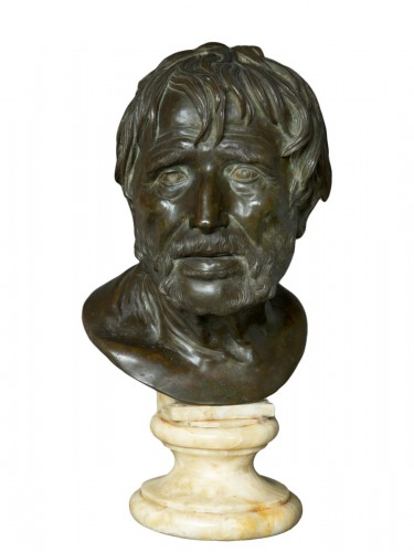 Bust in bronze of Seneca Naples 19th Century