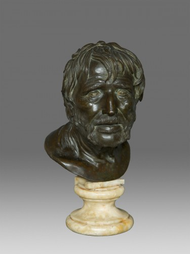 Bust in bronze of Seneca Naples 19th Century - Sculpture Style Napoléon III