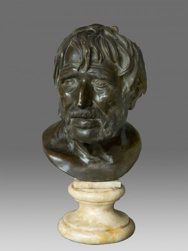Bust in bronze of Seneca Naples 19th Century -