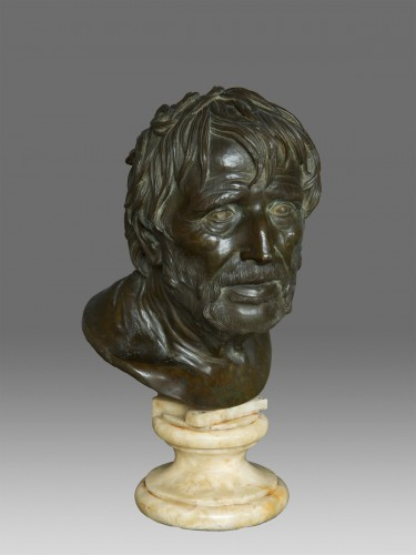 19th century - Bust in bronze of Seneca Naples 19th Century