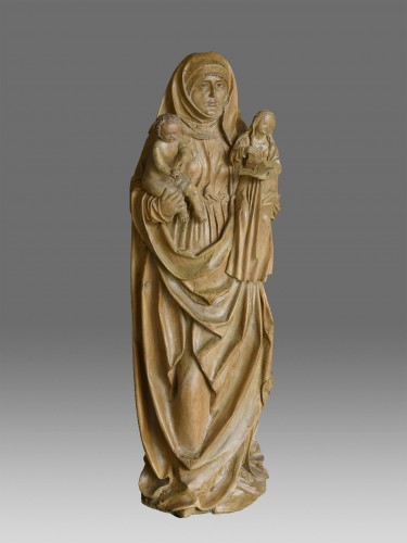 Madonna and Child with Saint Anne circa 1480-1500 - Sculpture Style Middle age