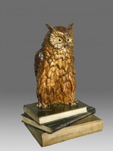 """Old Vienna Bronze Owl """" Franz Bergmann 1928"""" - Sculpture Style Art Déco"""