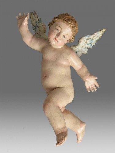 Pair of Neapolitan Angels end of 18th century - Sculpture Style Louis XVI