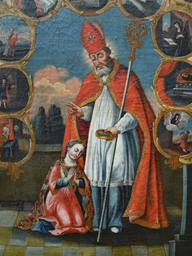 Painting in Oil on canvas of Saint Odilia of Alsace - Paintings & Drawings Style Louis XVI