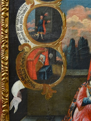18th century - Painting in Oil on canvas of Saint Odilia of Alsace