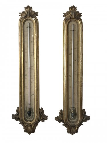 Pair of giltwood barometer-thermometer