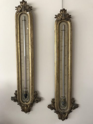 Pair of giltwood barometer-thermometer -