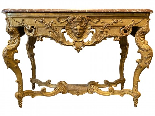 French Regence carved Giltwood console table