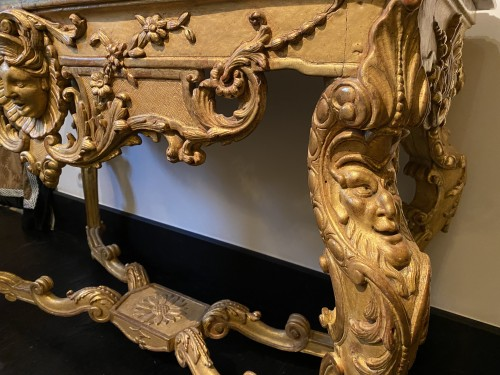 French Regence - French Regence carved Giltwood console table