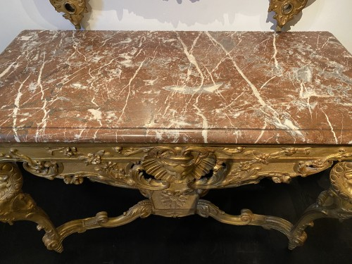 Antiquités - French Regence carved Giltwood console table