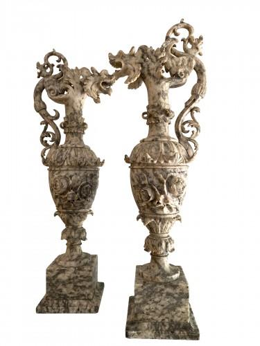 Pair of ewers in alabaster