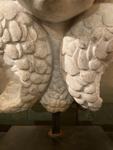 Head of cherub in white marble - Louis XIII