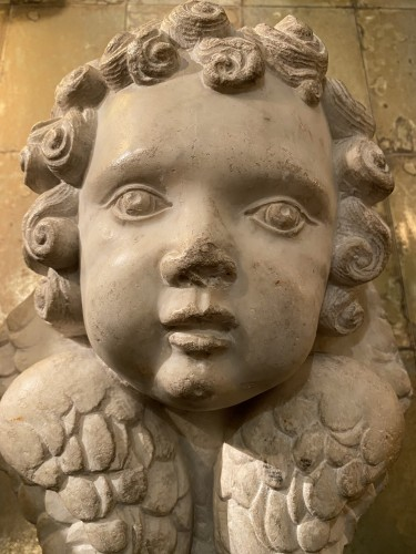 Louis XIII - Head of cherub in white marble