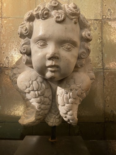 Antiquités - Head of cherub in white marble