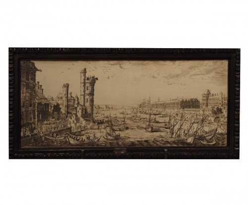 Engraved ivory plaque, View of Paris - after Jacques CALLOT