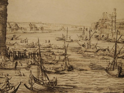 Engraved ivory plaque, View of Paris - after Jacques CALLOT -